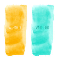 Yellow and blue watercolor stain banners vector