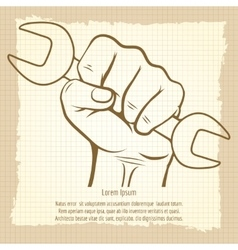 Working hand with wrench vintage poster vector