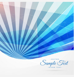 blue abstract background with stripe rays vector image