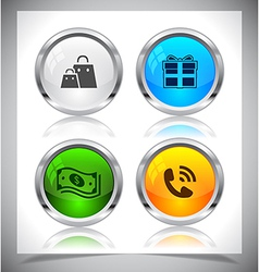 Metal web buttons eps10 vector