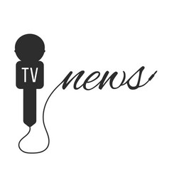 Breaking news with black microphone vector