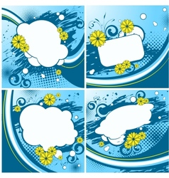 Four blue floral backgrounds vector