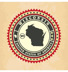 Vintage label-sticker cards of wisconsin vector
