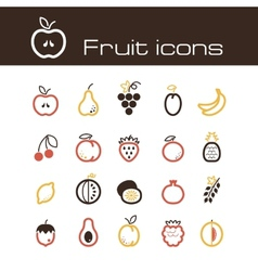 Icons set fruits vector