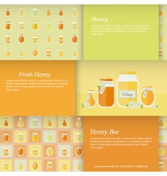 Cards with jars of honey set vector