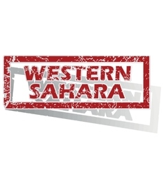 Western sahara outlined stamp vector