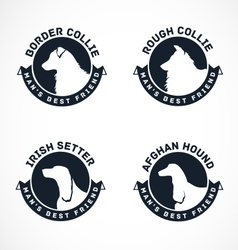 Collection of Dog Silhouette Badges vector image