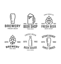 Set of linear brewery logos vector