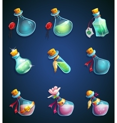 Set alchemical cartoon bottles vector