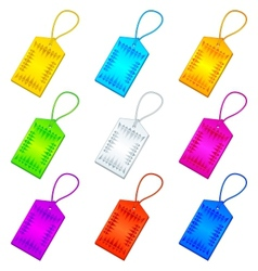 Color tags with ropes set vector