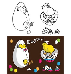 Easter chickens in egg vector