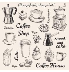 Hand Drawn Set Coffee vector image