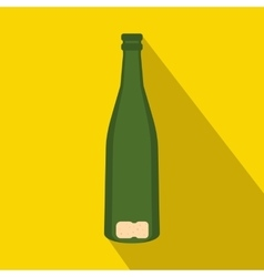 Empty wine bottle icon flat style vector