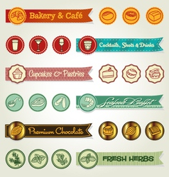 Set of ribbons and icons vector