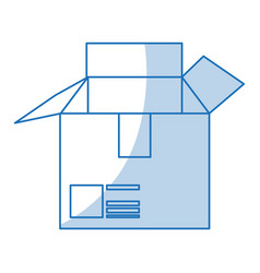 blue shading silhouette cartoon box of cardboard vector image