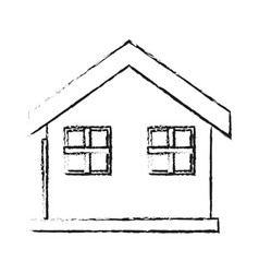 Blurred silhouette house one floor vector