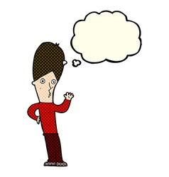 Cartoon man waving with thought bubble vector