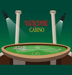 casino golden banner welcome with lamp vector image