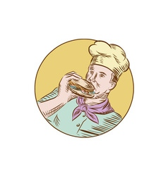 Chef cook eating burger etching vector