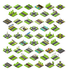 City Map Set 02 Tiles Isometric vector image vector image
