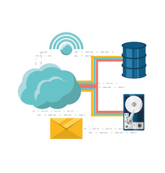 Cloud computing and share information vector