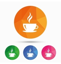 Coffee cup sign icon Hot coffee button vector image