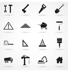Construction icons set black vector