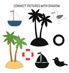 Educational game connect with shadows vector