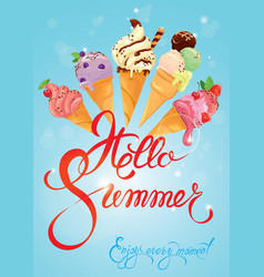 greeting card with ice cream cones on blue vector image