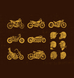 Handrawn vintage motorcycle and helmet skull biker vector