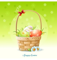 Happy Easter card and a basket with Easter eggs vector image vector image