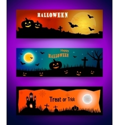 Happy halloween banner set Collection of header vector image vector image