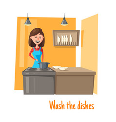 Housewife at kitchen washing dishes woman vector