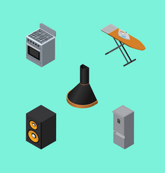 Isometric appliance set of cloth iron air vector