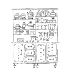 Kitchen cabinet with various utensils vector