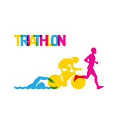 logo sport triathlon vector image