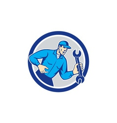 Mechanic shouting holding spanner wrench circle vector