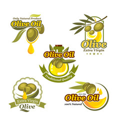 Olive oil icons product label template set vector