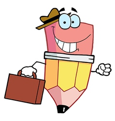 Pencil cartoon character carrying a briefcase vector