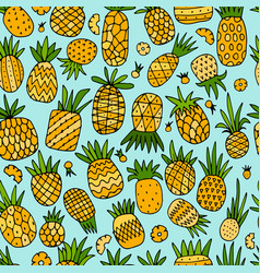 pineapple set sketch for your design vector image vector image