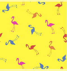 Pink red blue flamingo seamless pattern vector