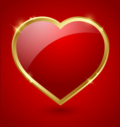 Red and golden heart vector image vector image