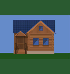 Rustic wooden house with a porch and a blue roof vector