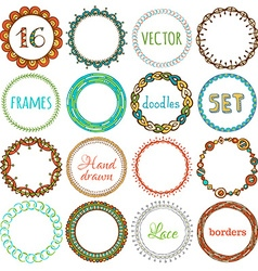 set of 16 hand-drawn ethnic frames vector image
