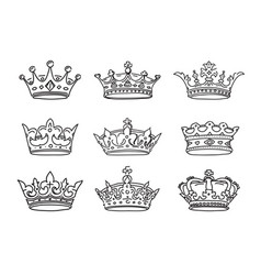 Set of stylized images of the crowns icons vector