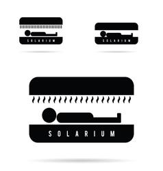 solarium with people icon in black vector image