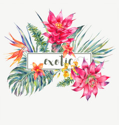 Vintage floral tropical greeting card vector