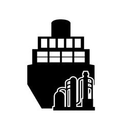 Cargo ship and oil refinery icon vector
