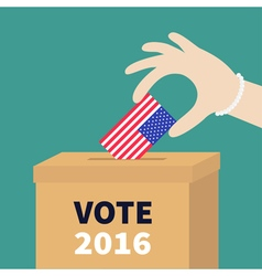 Ballot voting box woman holding american flag vector