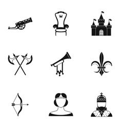 Medieval knight icons set simple style vector image